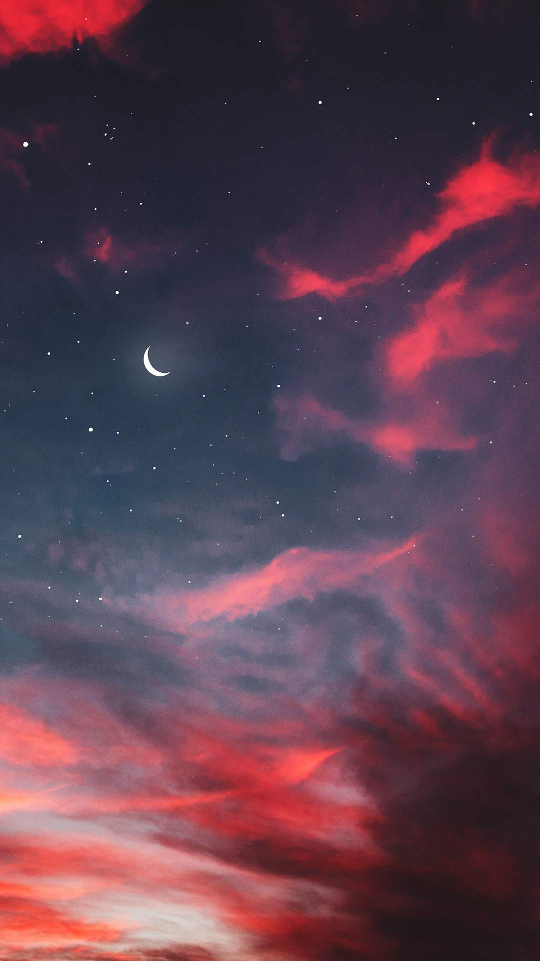 Twilight Moon Starry Sky Clouds iPhone Wallpaper