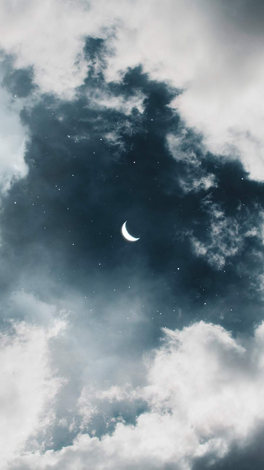 Twilight Moon in Clouds iPhone Wallpaper