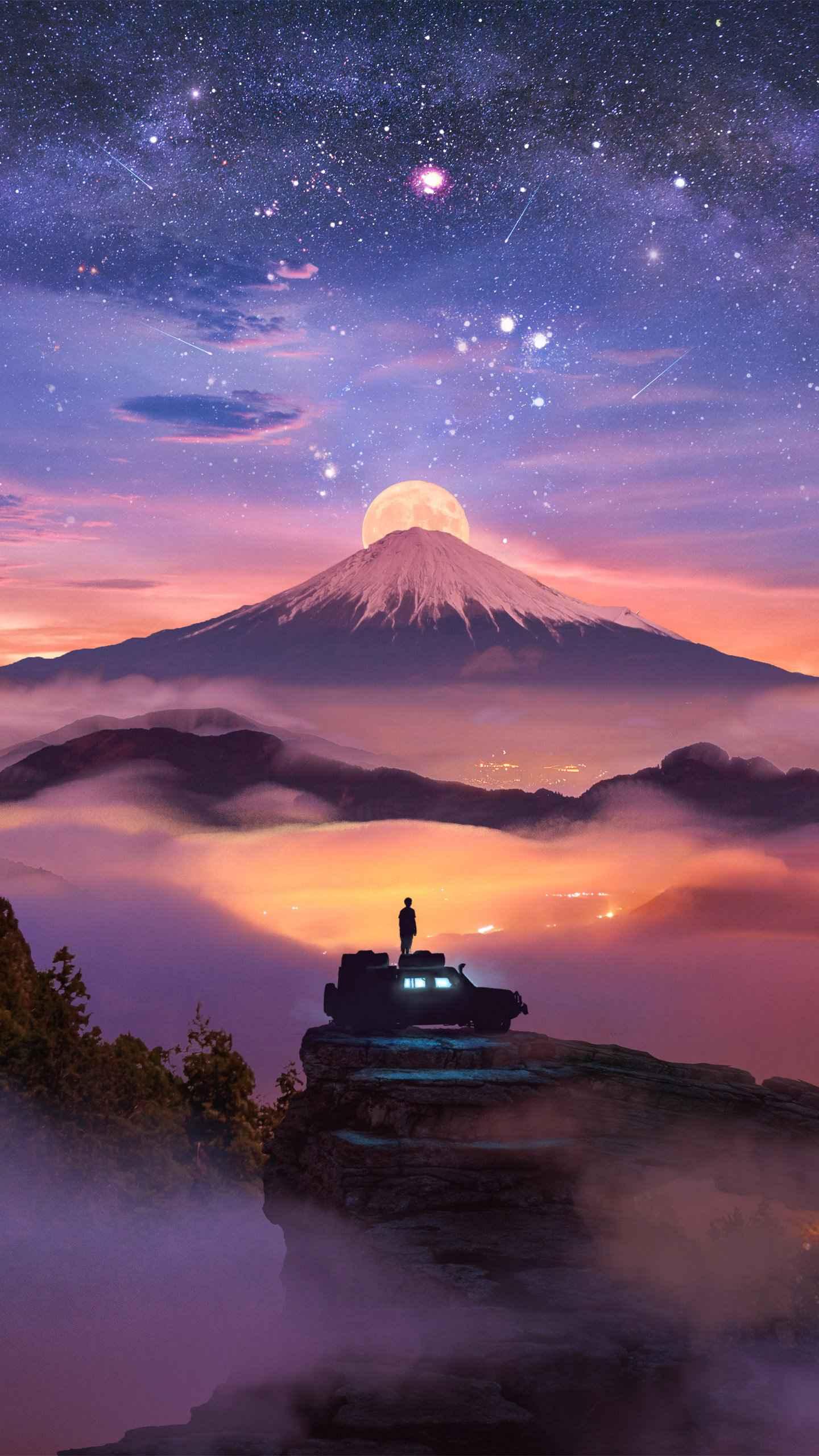 Volcano Moon iPhone Wallpaper