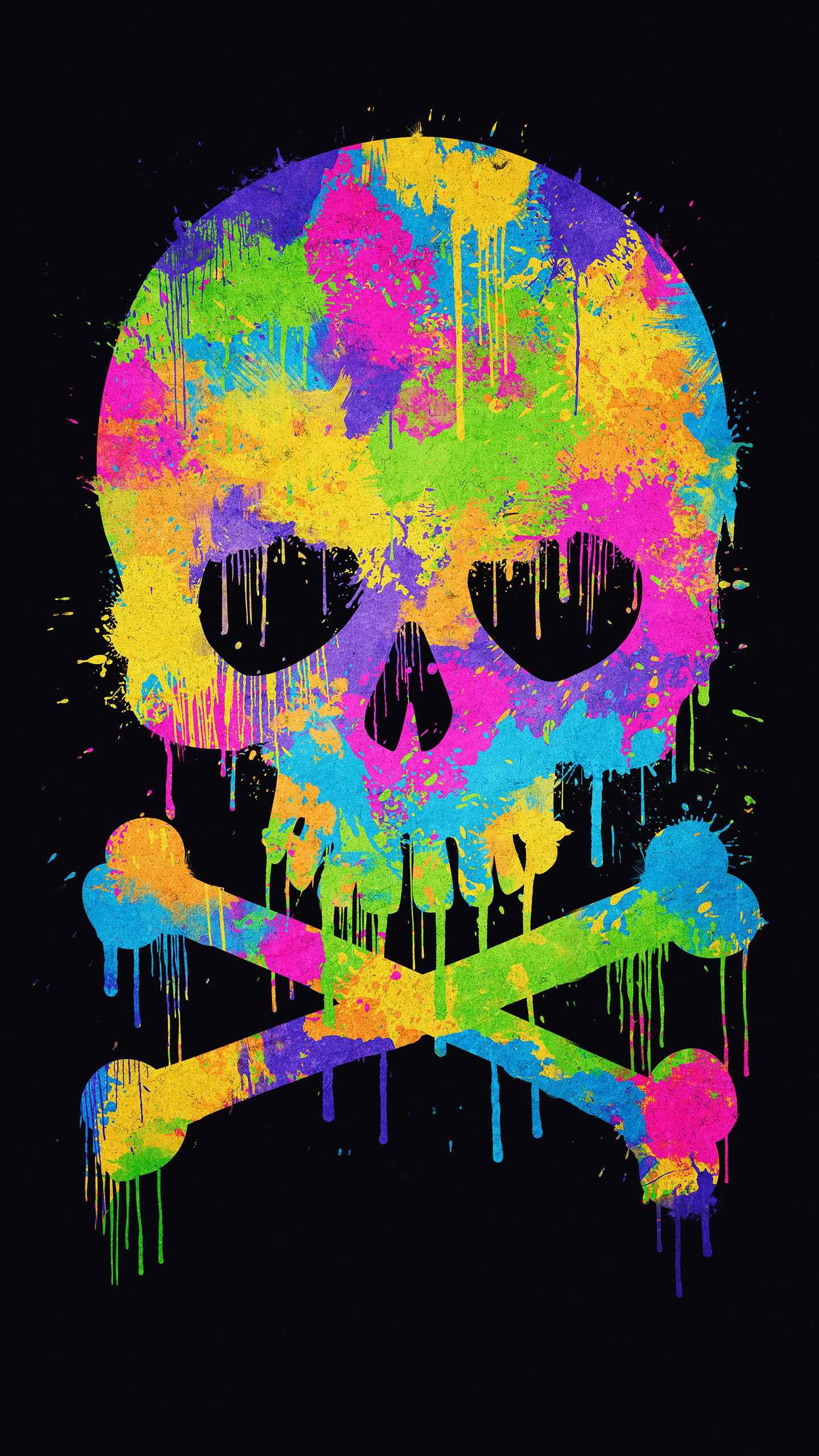 Watercolor Skull iPhone Wallpaper