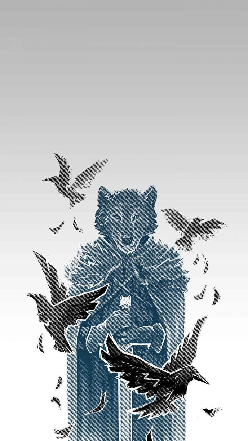 Wolf and Ravens iPhone Wallpaper