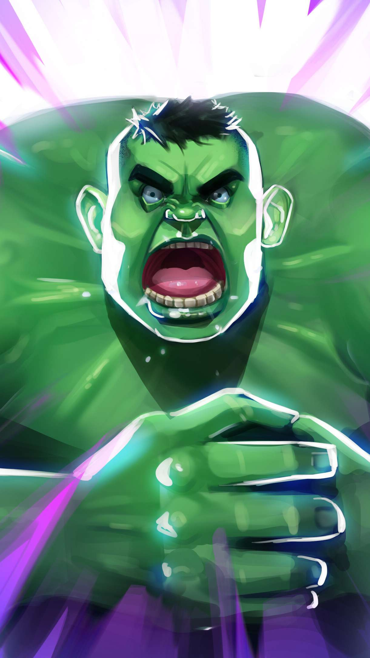 Angry Hulk Art iPhone Wallpaper