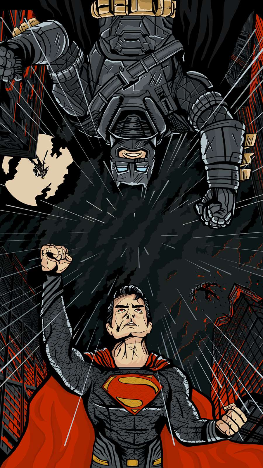 Armored Batman and Superman Fight iPhone Wallpaper