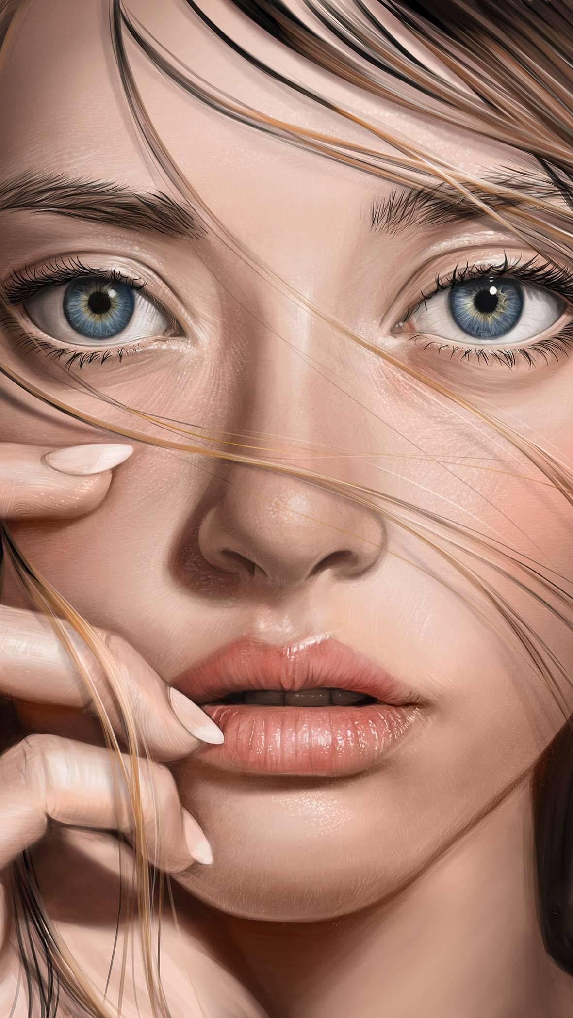 Brunette Girl Face iPhone Wallpaper