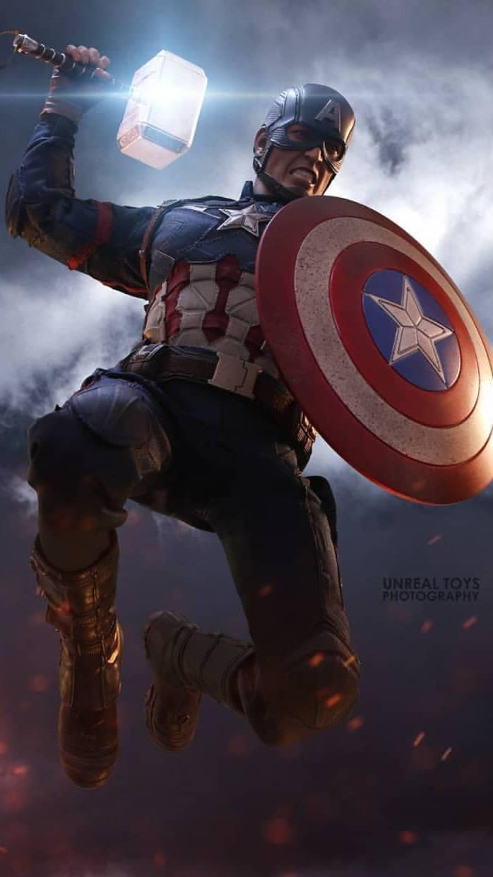 Captain America Lift Thor Hammer Worthy iPhone Wallpaper