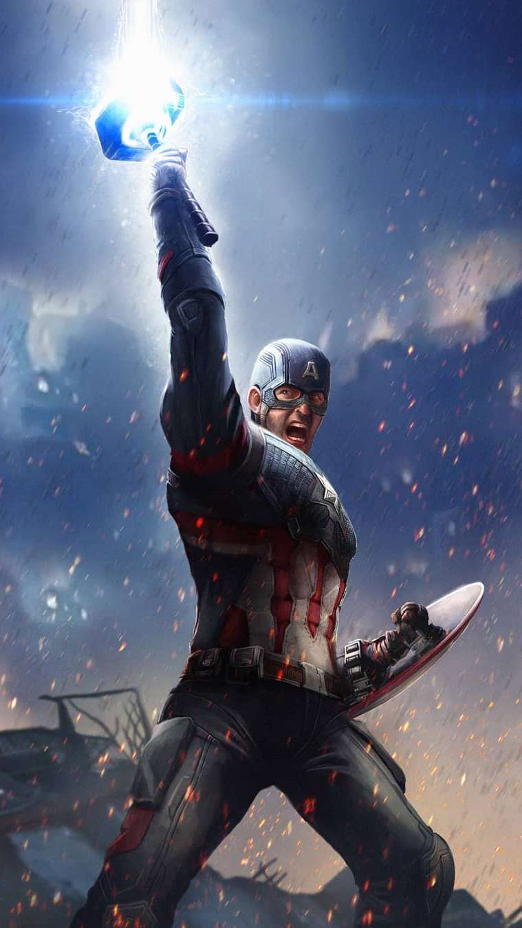 Captain America Lifts Thor Hammer iPhone Wallpaper