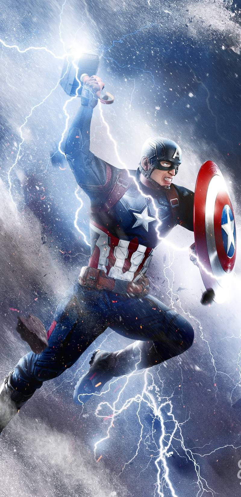 Captain America Thor Hammer Attack iPhone Wallpaper