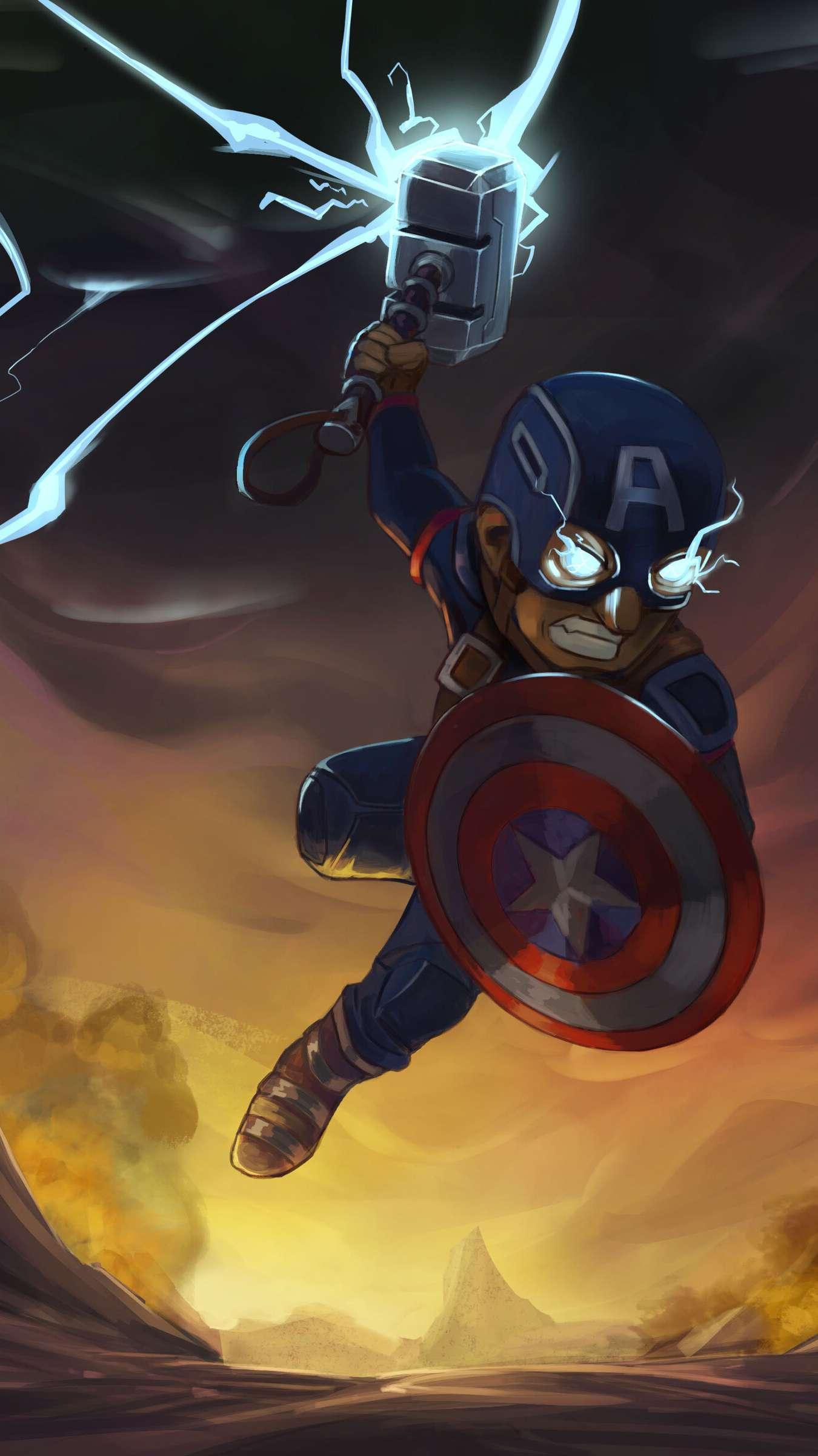 Captain America Thor Hammer iPhone Wallpaper
