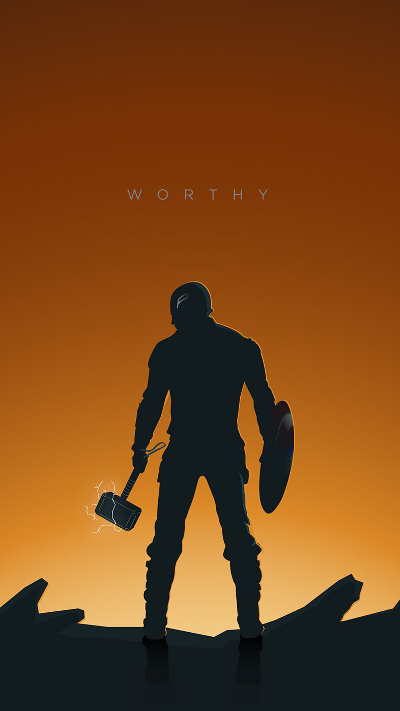Captain America with Thor Hammer Endgame iPhone Wallpaper