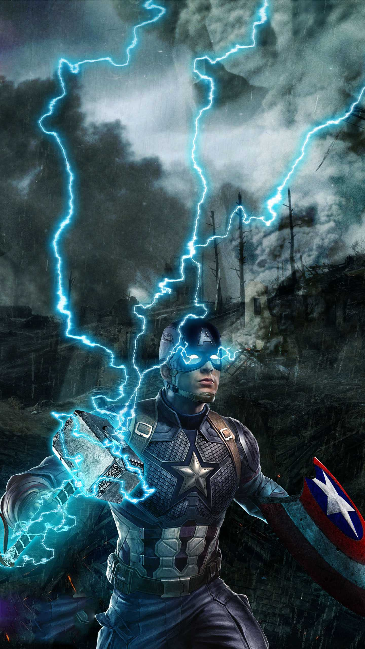 Captain America with Thor Hammer iPhone Wallpaper