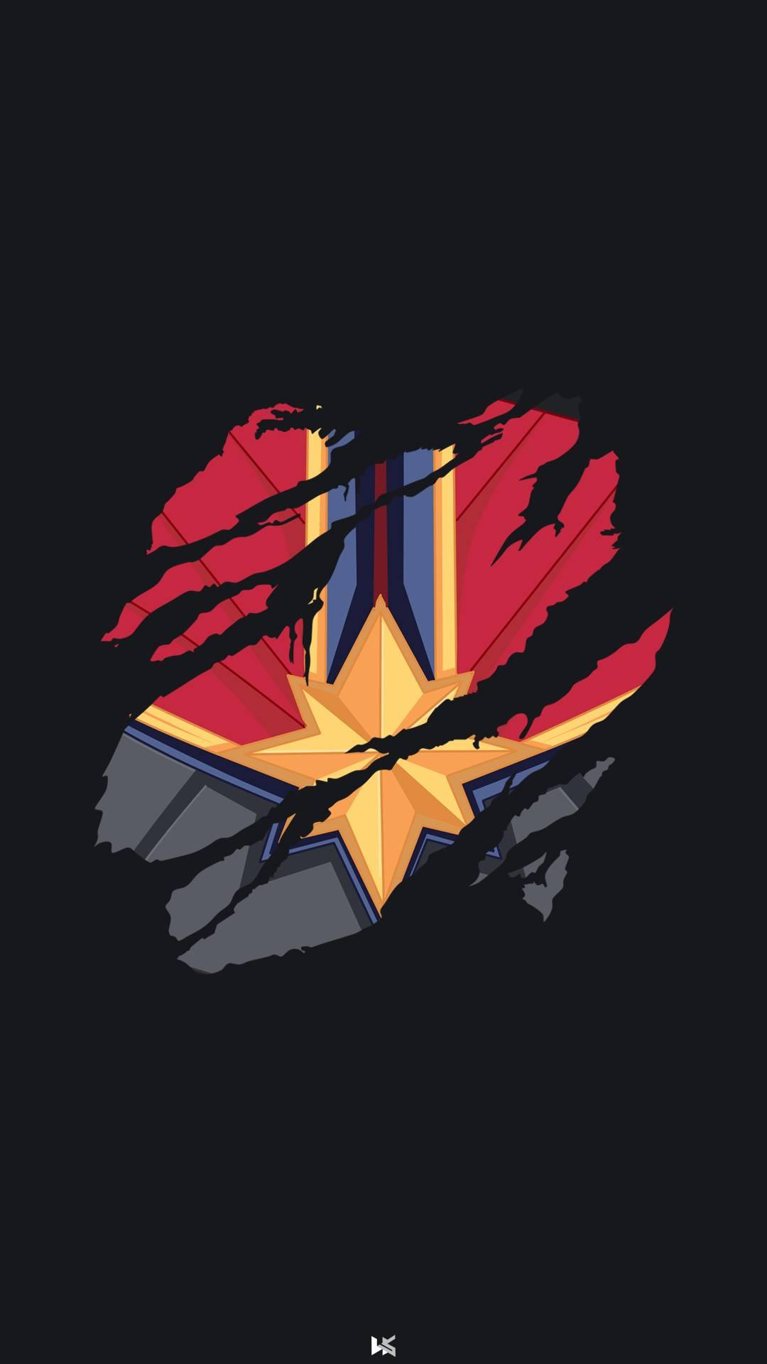 Captain Marvel Minimal iPhone Wallpaper