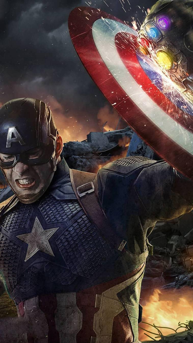 Captain Shield vs Thanos iPhone Wallpaper