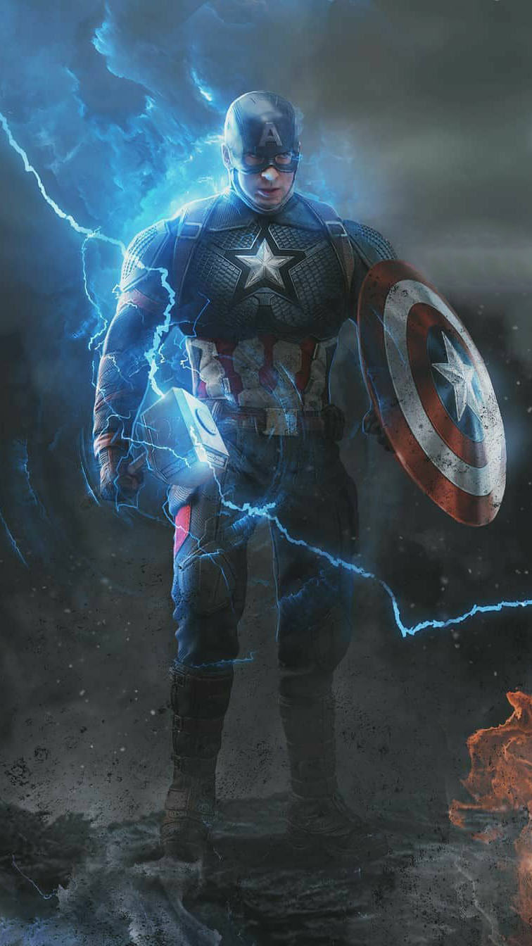 Captain with Thor Hammer and Shield iPhone Wallpaper