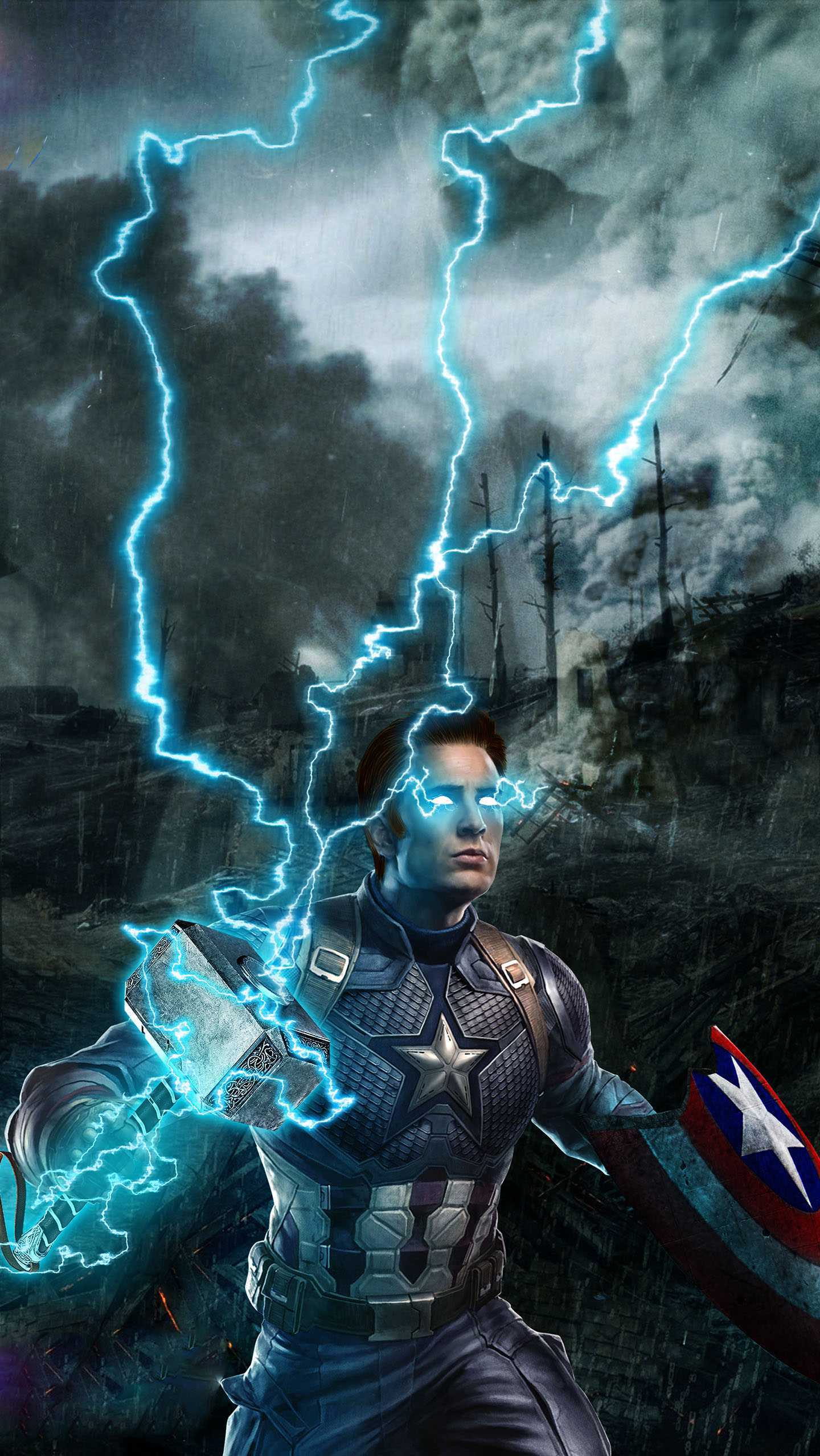 Captain with Thor Hammer iPhone Wallpaper