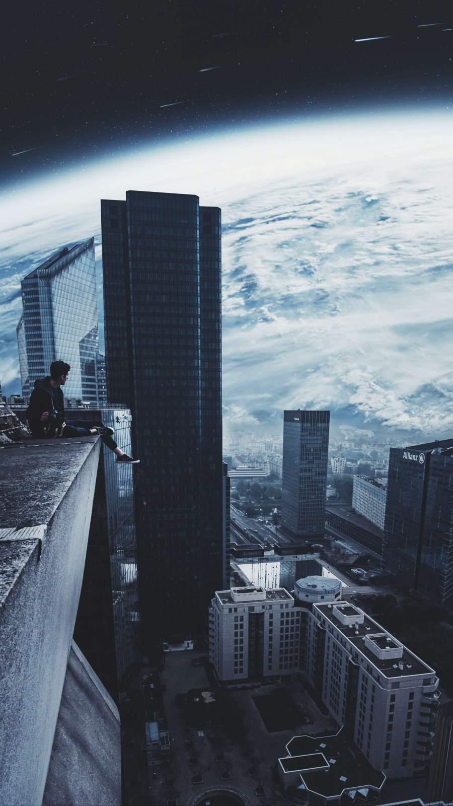 City Beyond Earth iPhone Wallpaper
