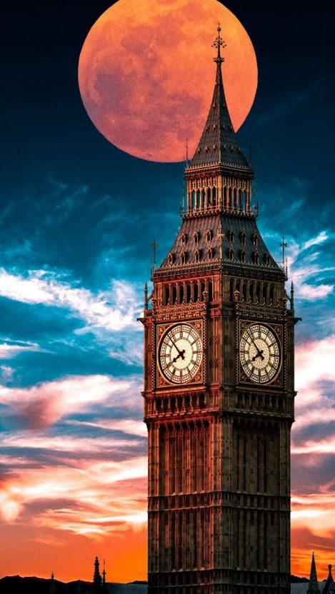 Clock Tower Blood Moon iPhone Wallpaper