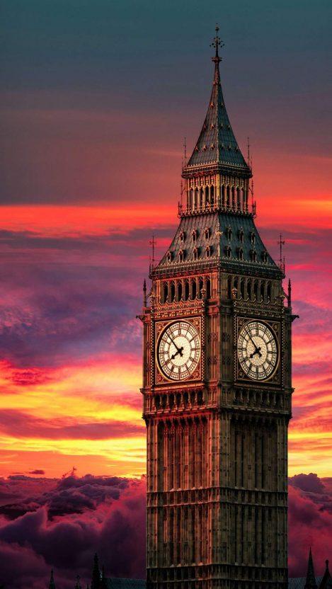 Clock Tower Sunset iPhone Wallpaper