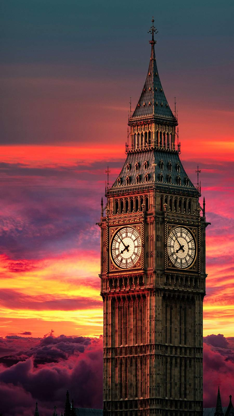 Clock Tower Sunset iPhone Wallpaper