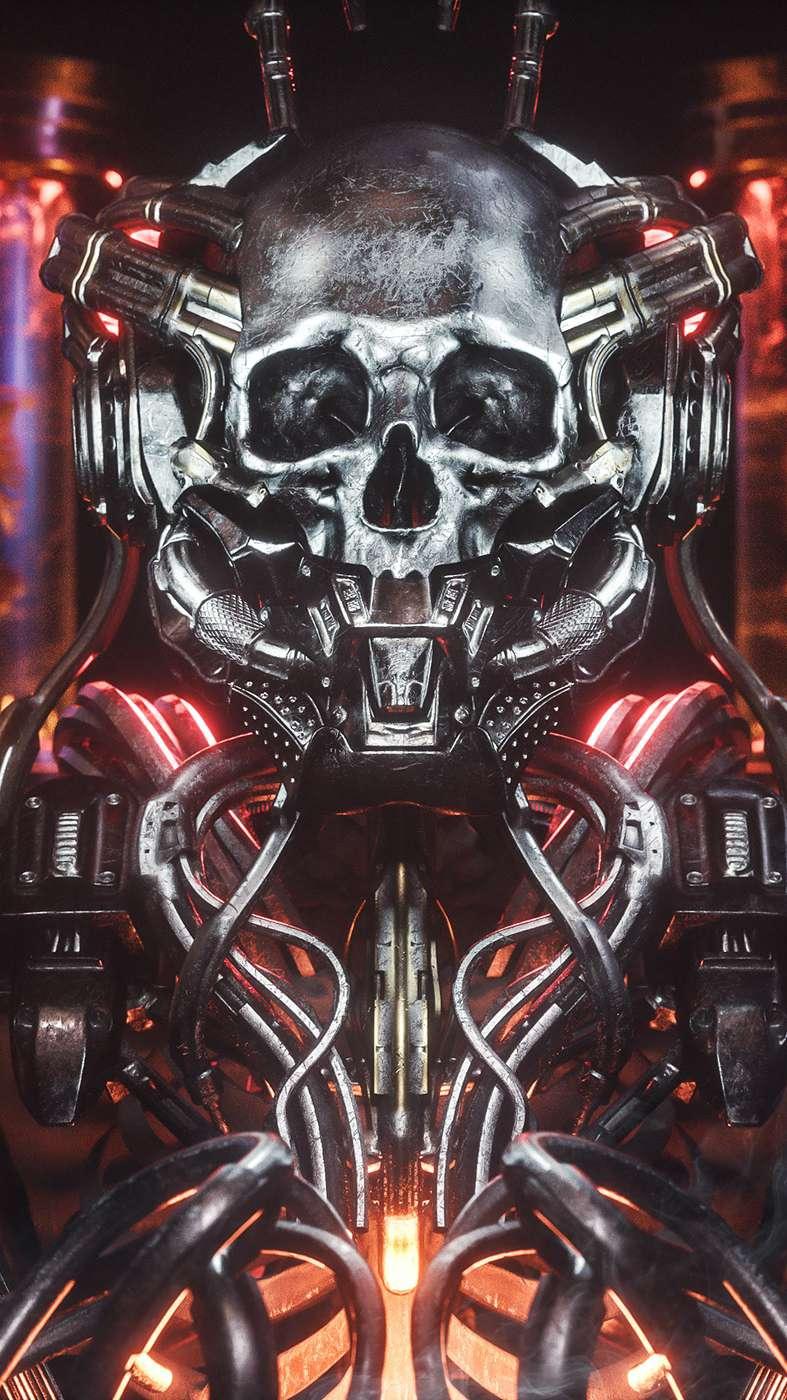 Cyborg Skeleton iPhone Wallpaper