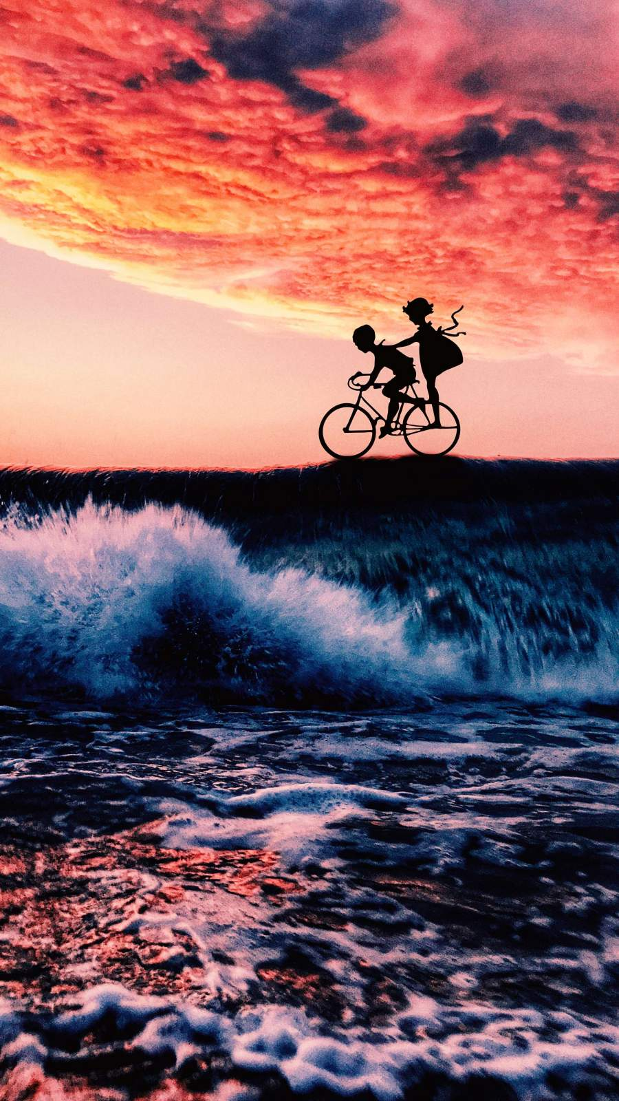 Cycling on Ocean iPhone Wallpaper