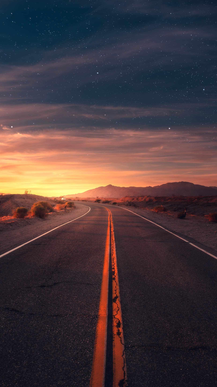 Desert Road Sunrise iPhone Wallpaper