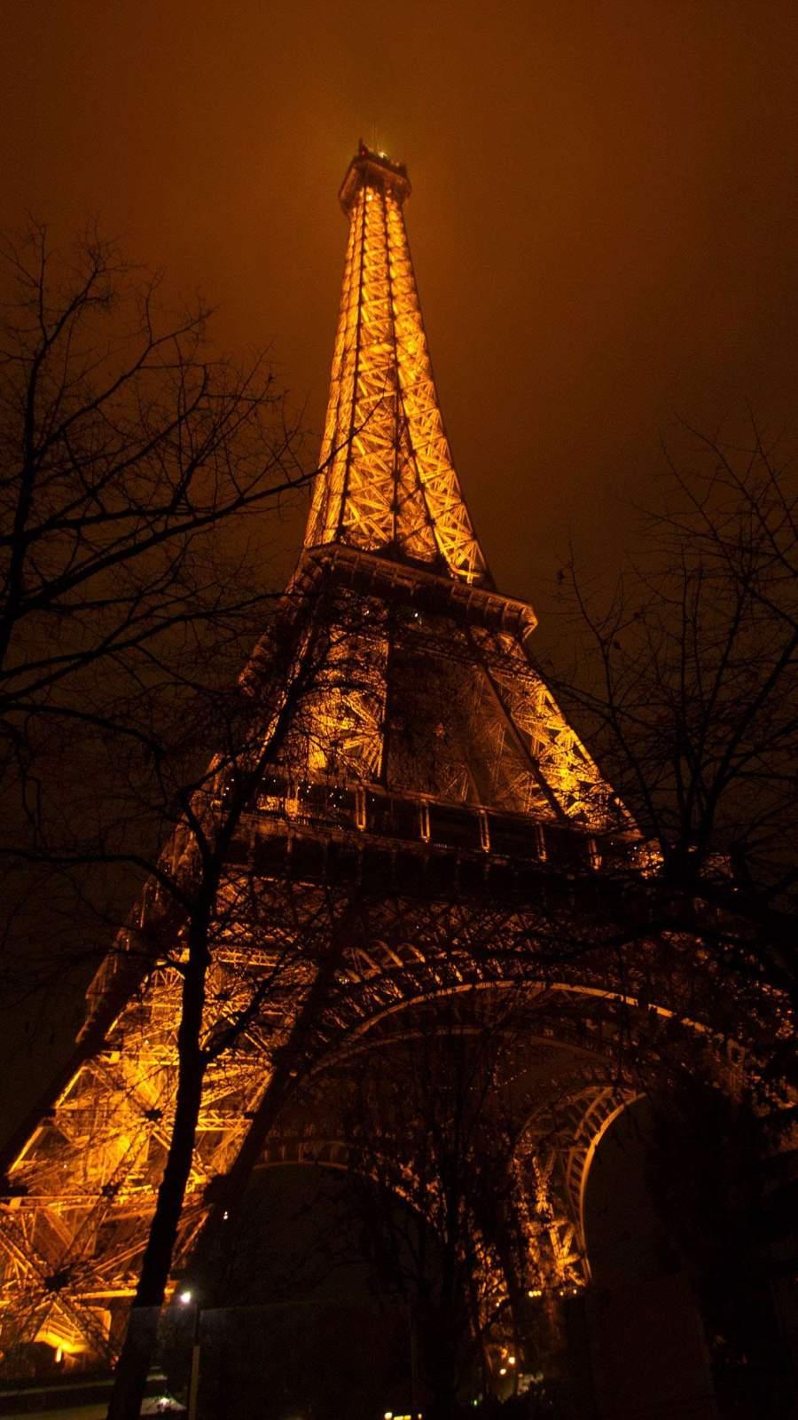 Eiffel Tower Night Light iPhone Wallpaper