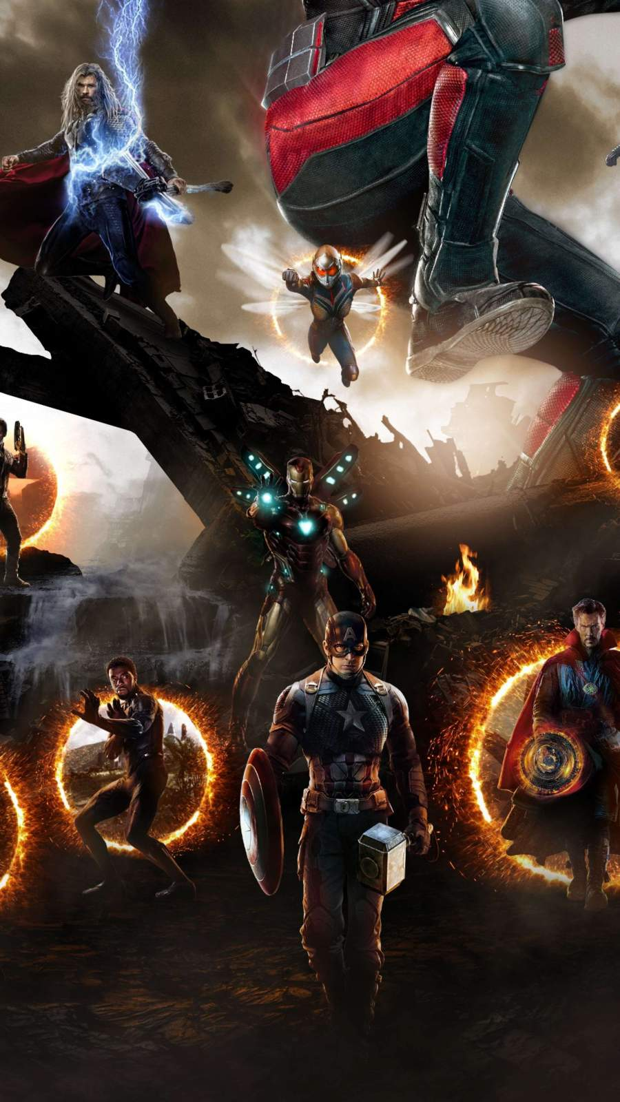 Endgame Final Battle Captain America with Hammer iPhone Wallpaper