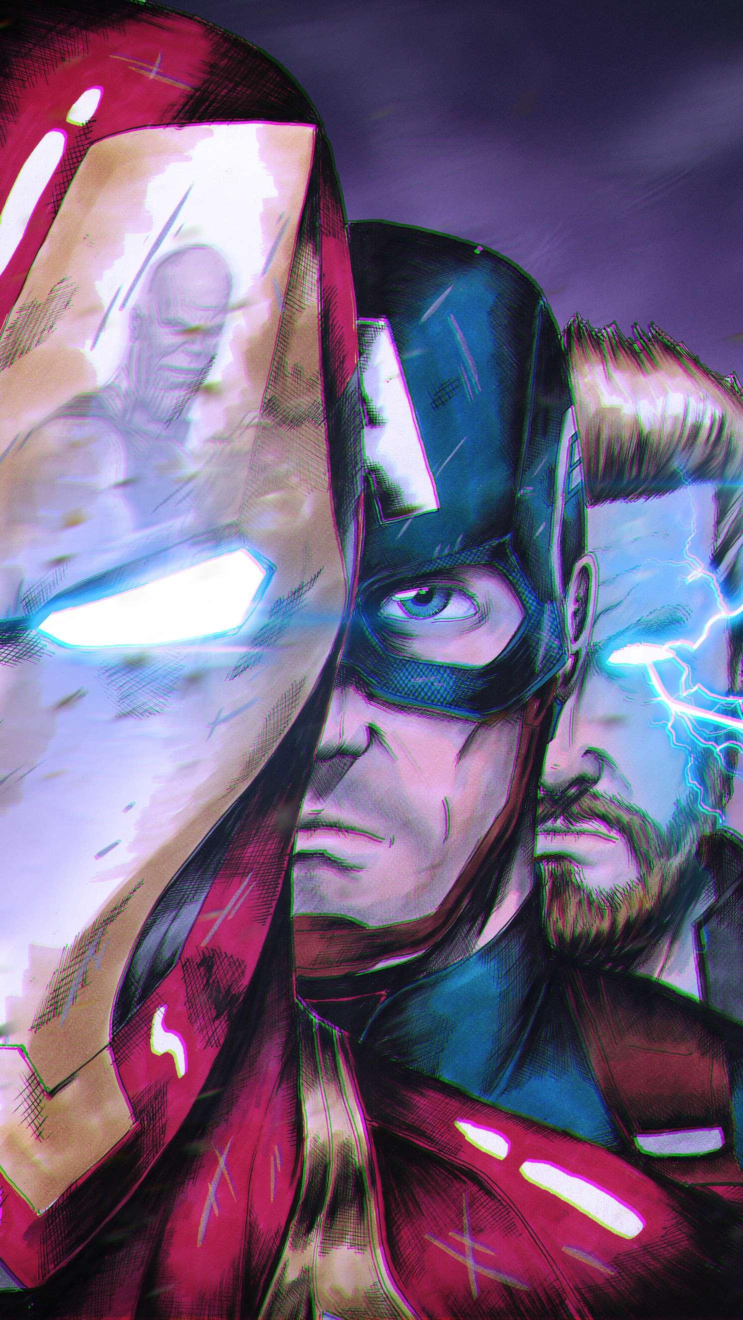 Endgame Iron Man Captain and Thor vs Thanos iPhone Wallpaper