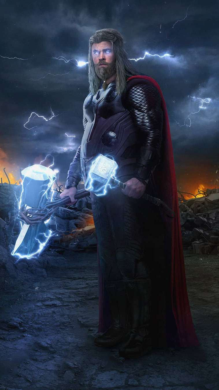 Fat Thor with Stormbreaker and Hammer iPhone Wallpaper