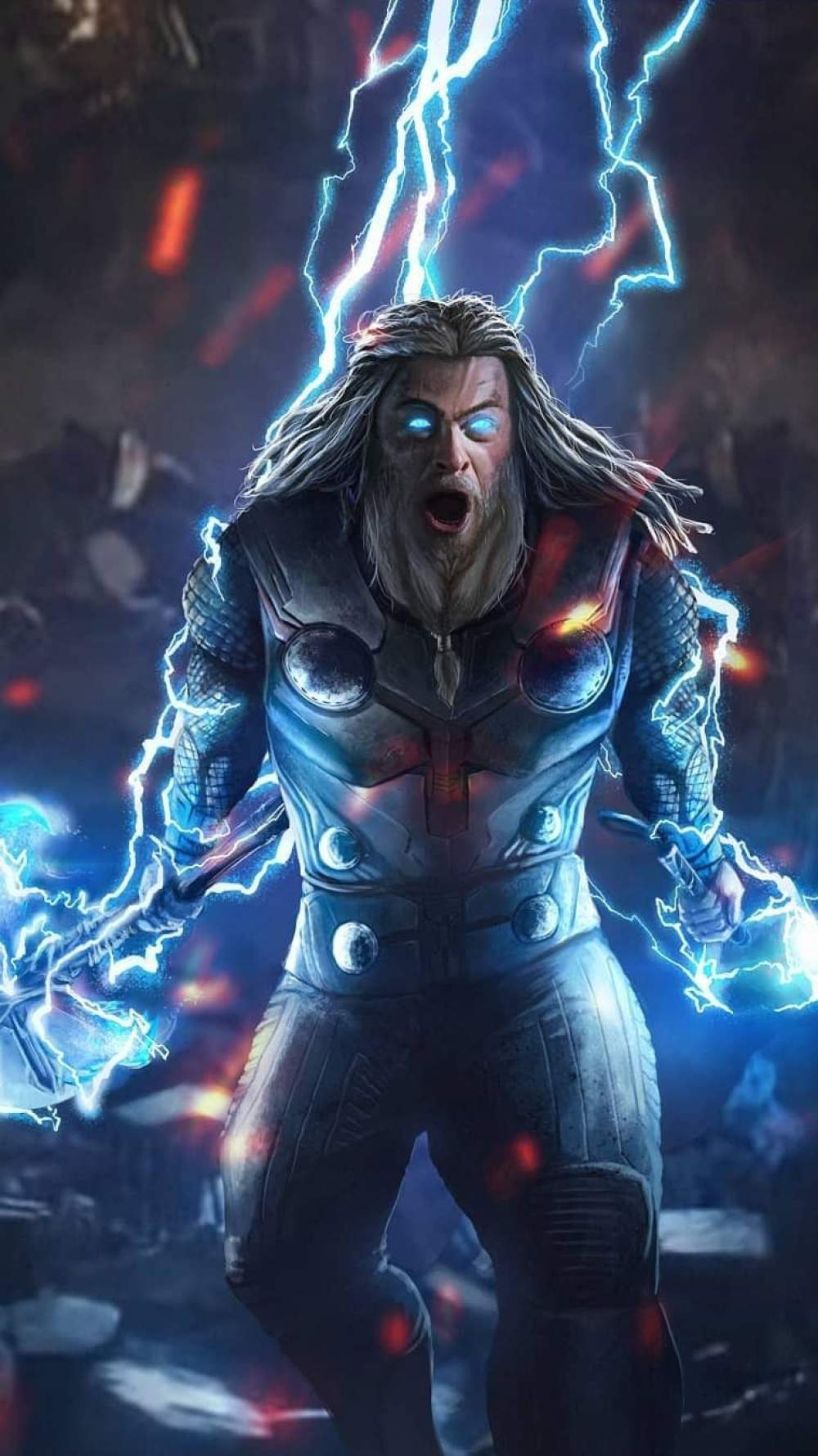 God of Thunder Thor Endgame Fight iPhone Wallpaper
