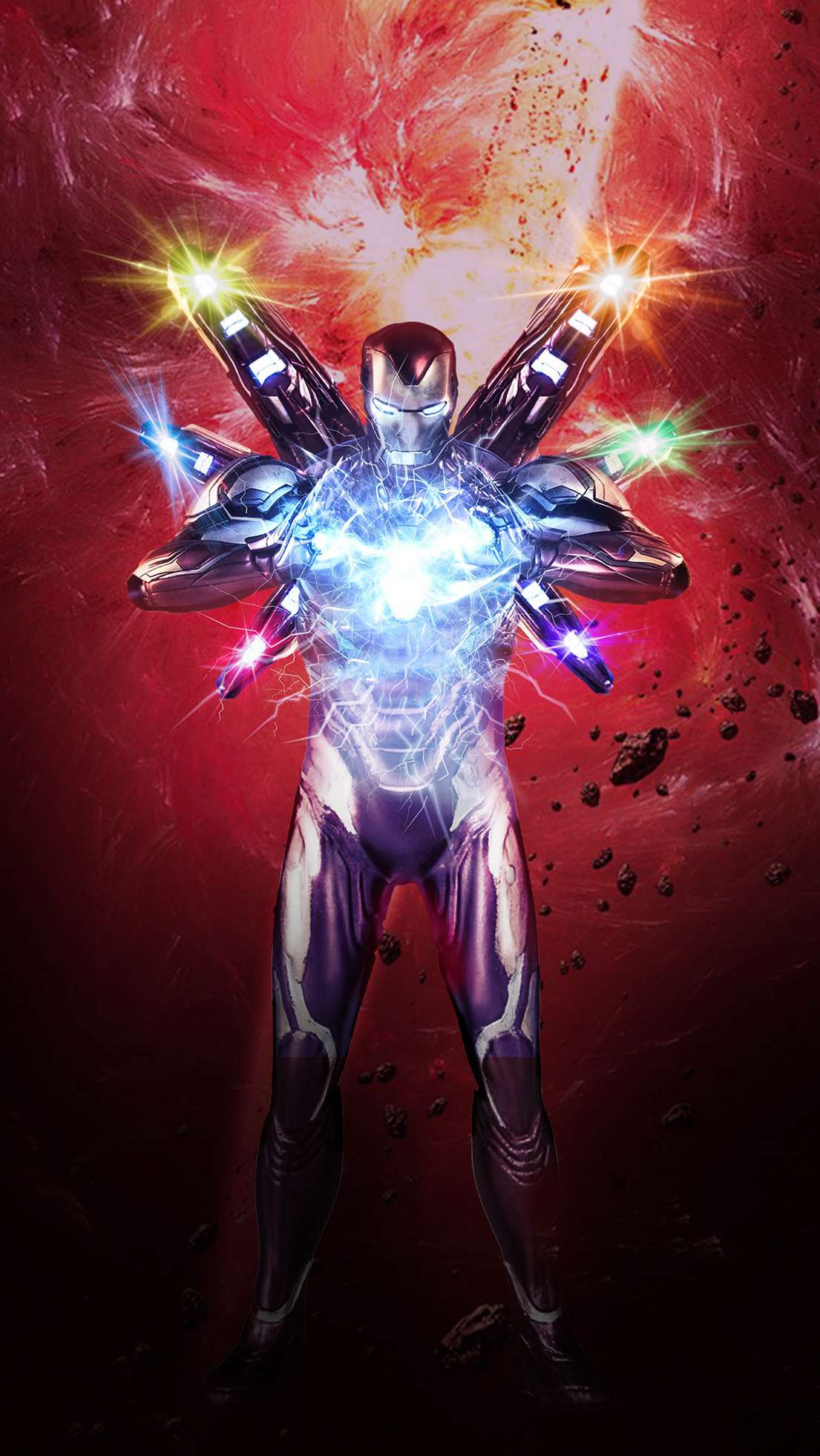 Iron Man Infinity Stone Armor iPhone Wallpaper
