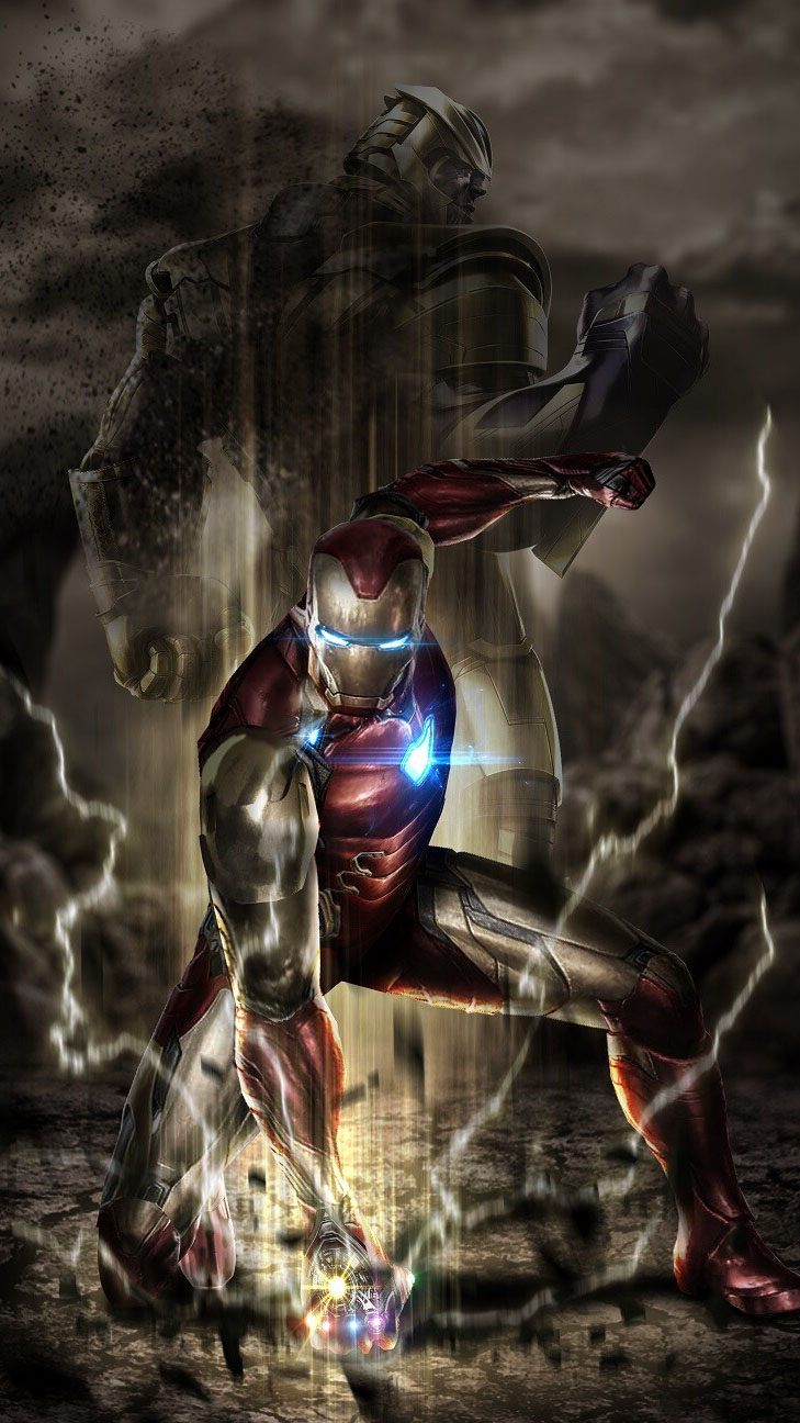 Iron Man Punch on the Ground iPhone Wallpaper
