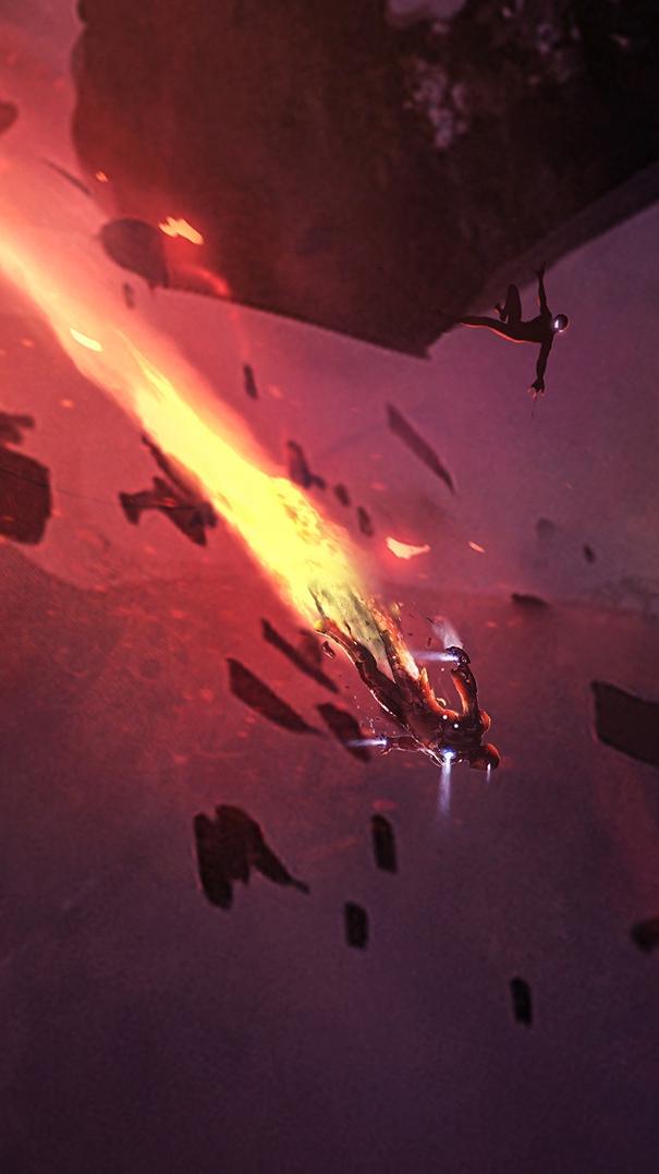 Iron Man Titan Planet Fight iPhone Wallpaper