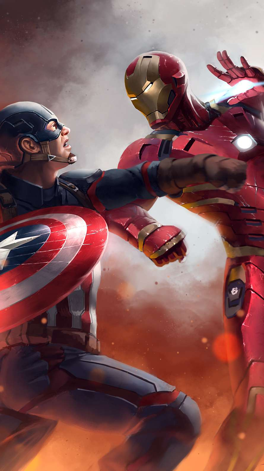 Iron Man and Captain Fight iPhone Wallpaper