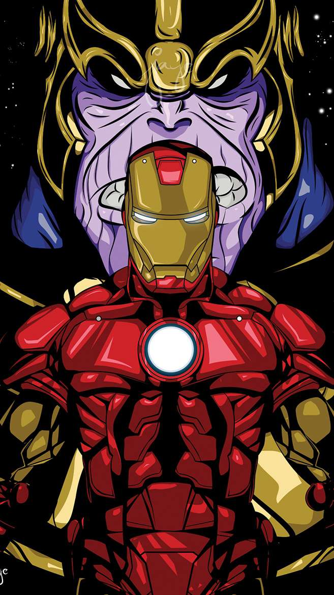 Iron Man and Thanos iPhone Wallpaper