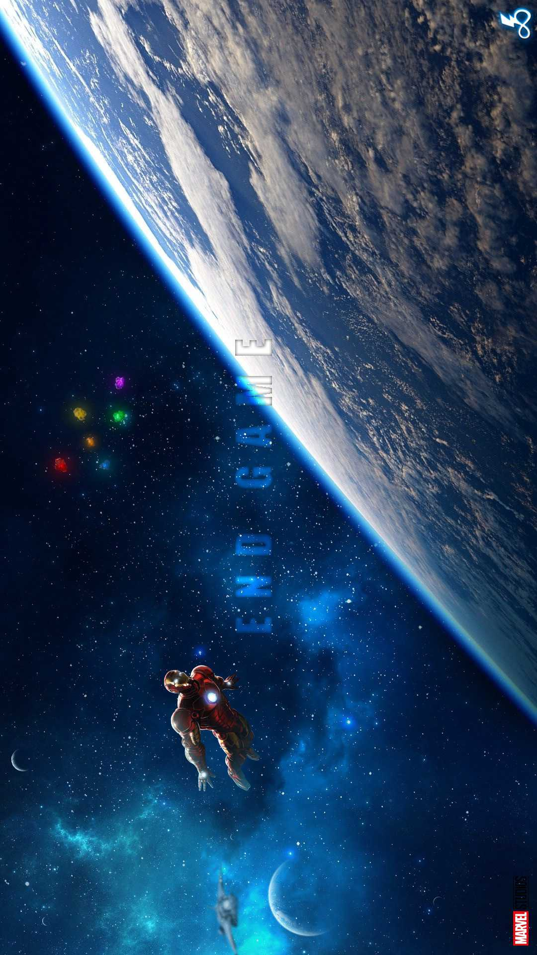 Iron Man in Space with Quinjet iPhone Wallpaper