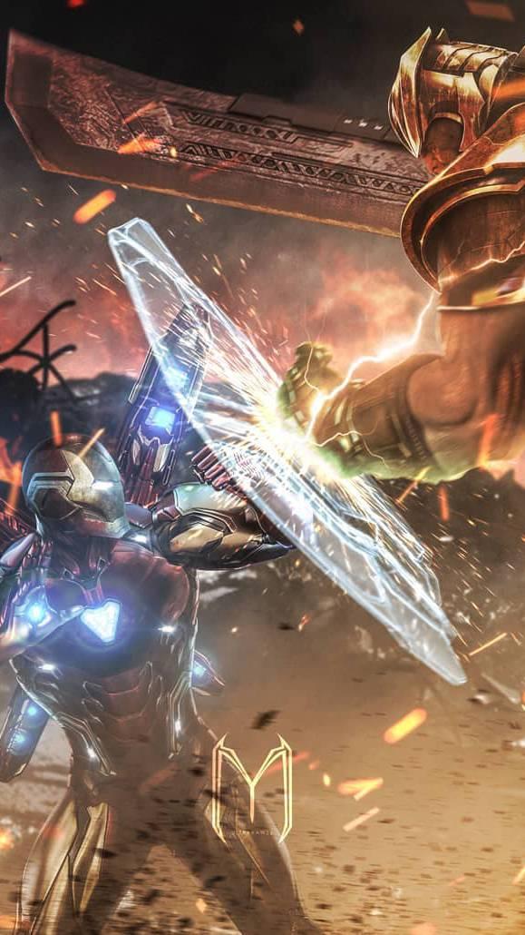 Iron Man vs Thanos Fight iPhone Wallpaper