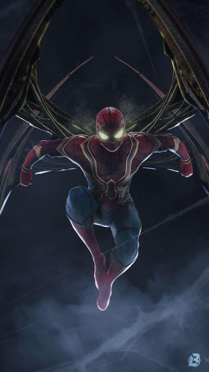 Iron Spiderman Action iPhone Wallpaper