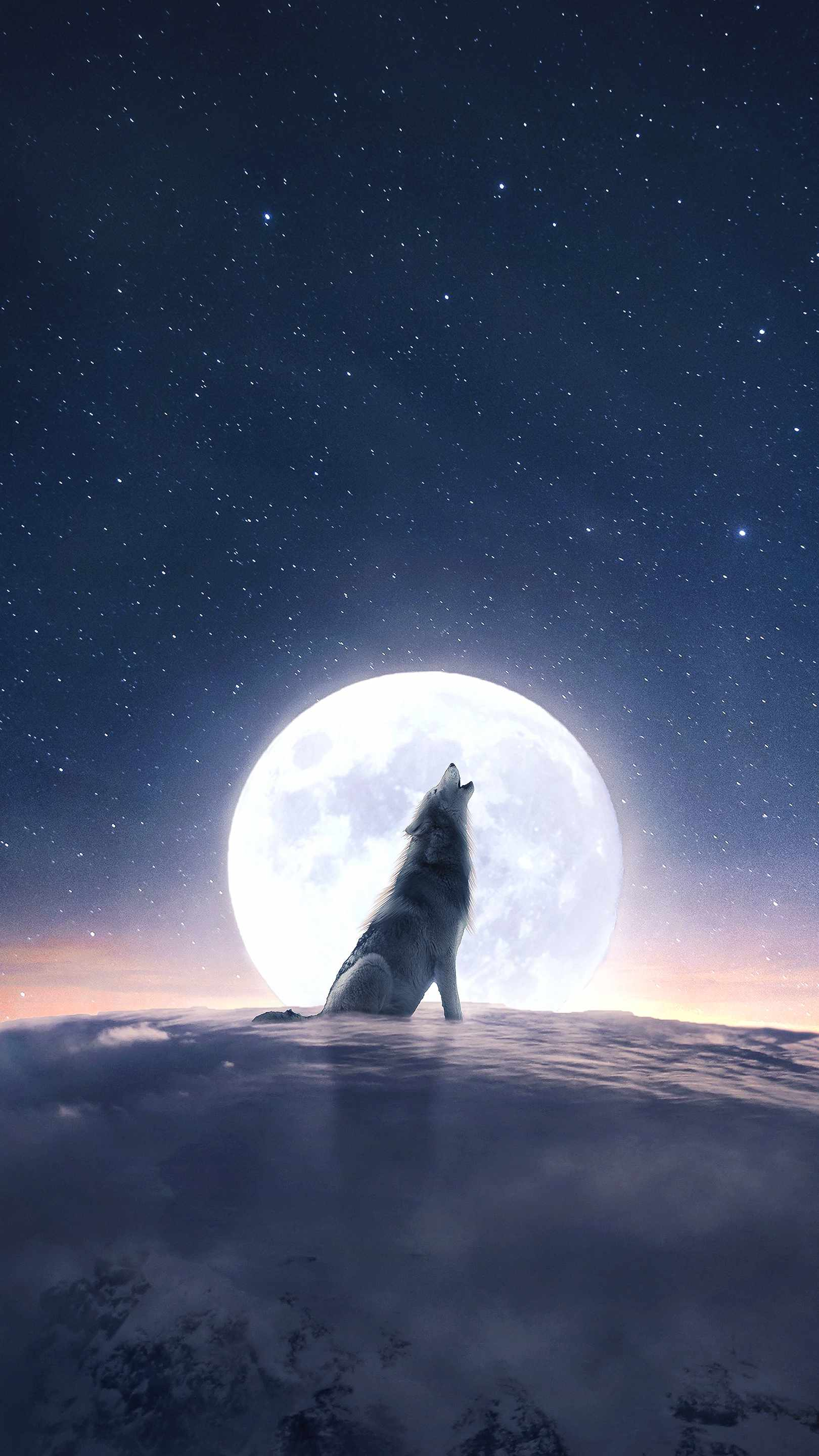 Moon Wolf Howl iPhone Wallpaper