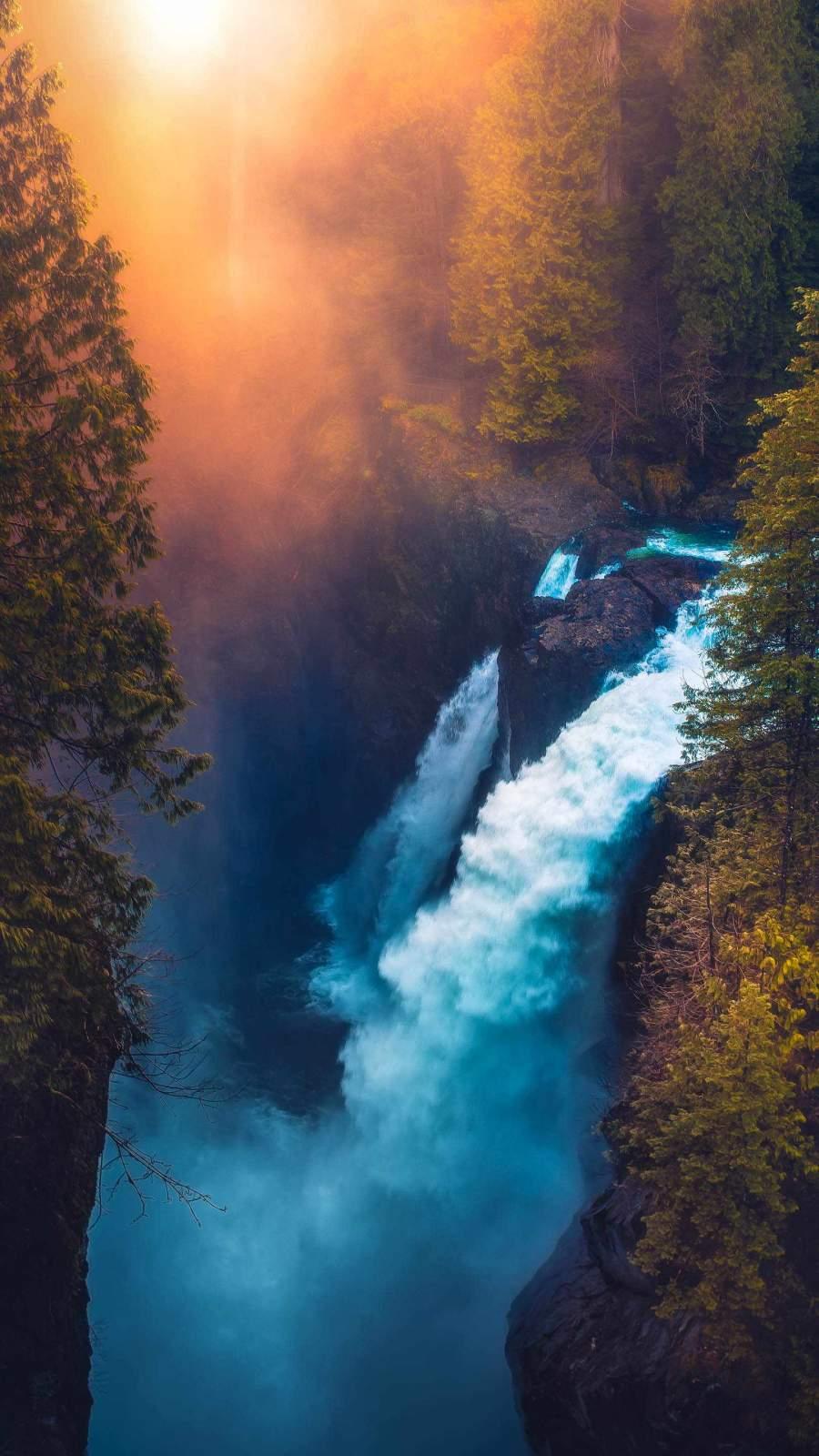 Nature Sunrise Waterfall iPhone Wallpaper