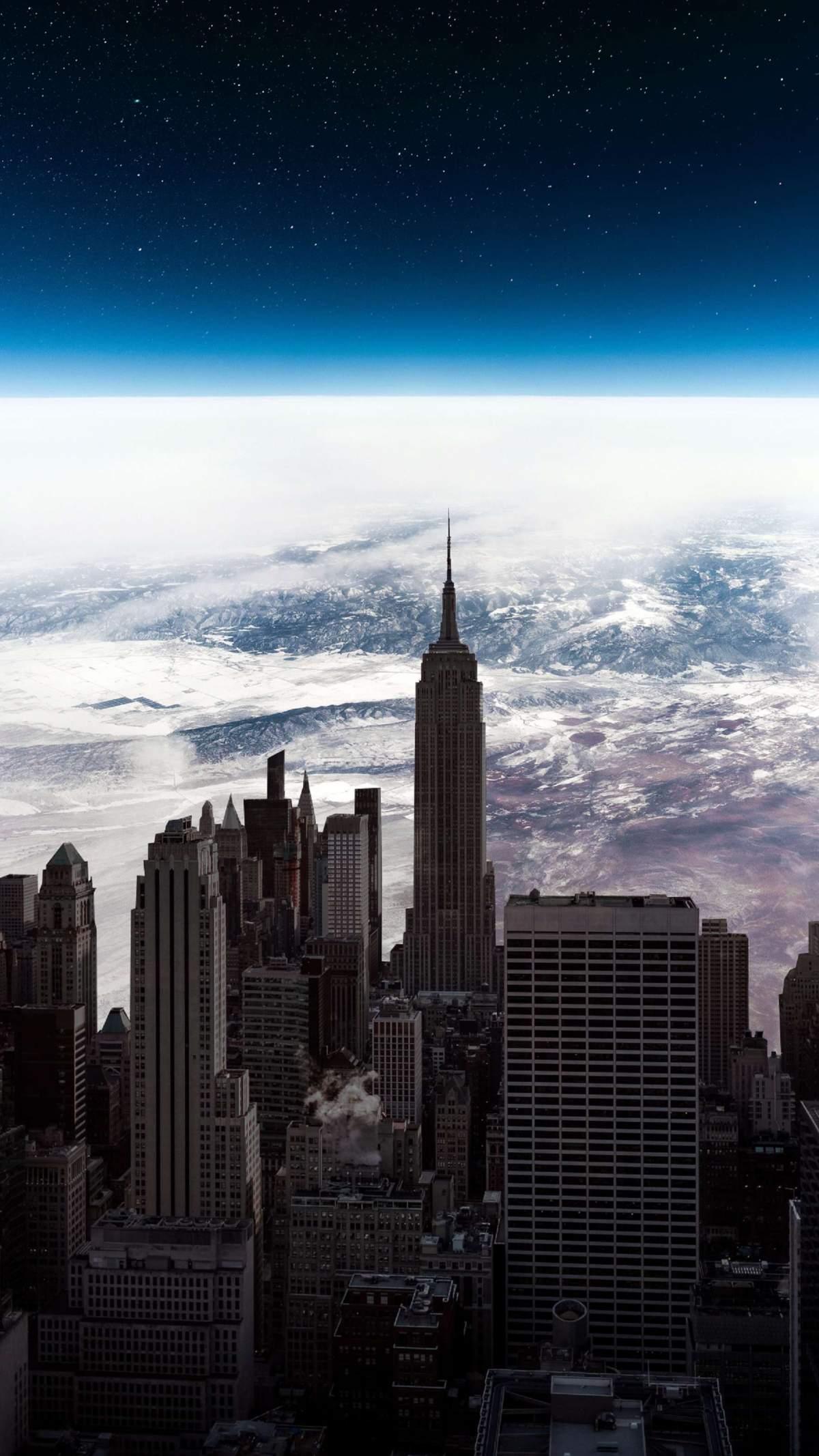 New York City in Sky iPhone Wallpaper