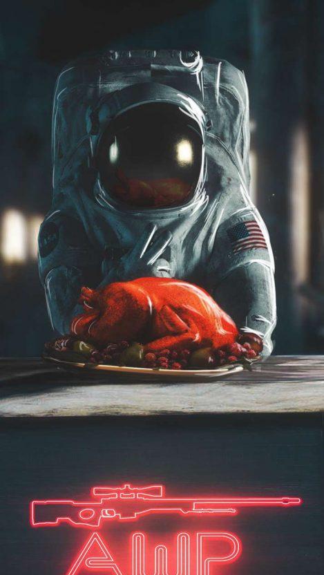 PUBG Astronaut Chicken Dinner iPhone Wallpaper