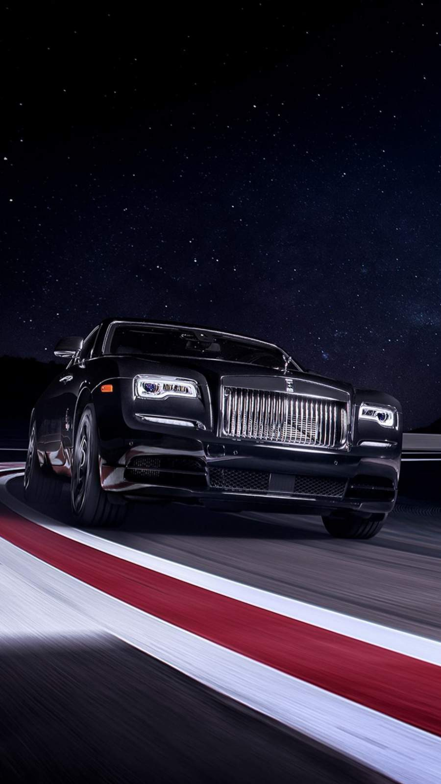 Rolls Royce Black On Race Track iPhone Wallpaper