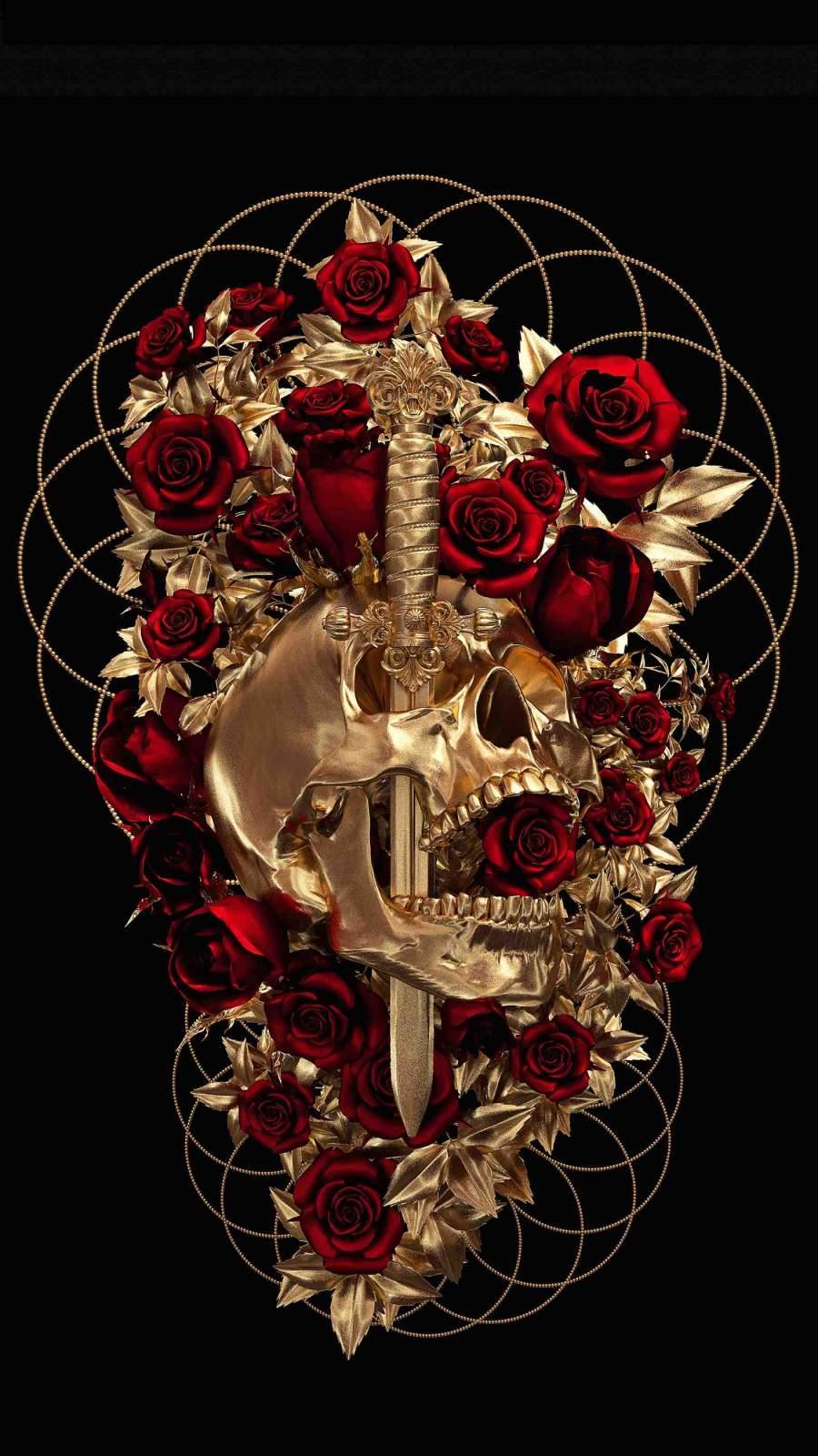 Rose Dagger Skull iPhone Wallpaper
