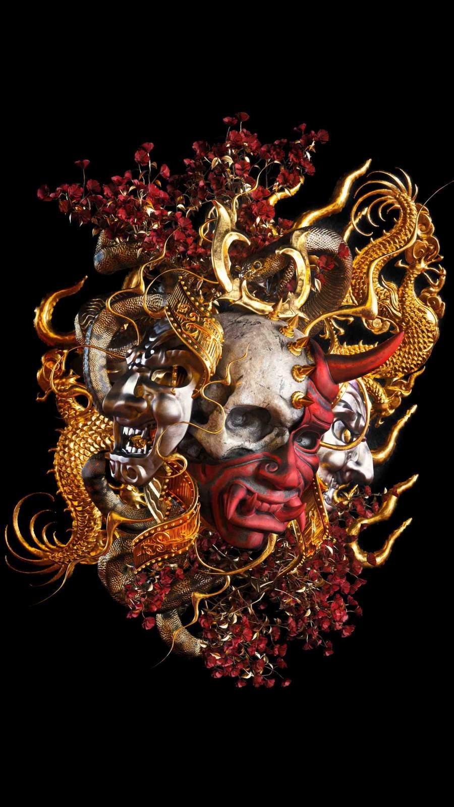 Samurai Skeleton iPhone Wallpaper
