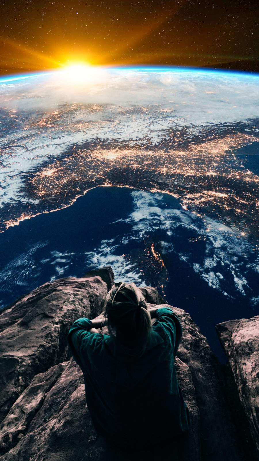 Sitting Above the Earth iPhone Wallpaper