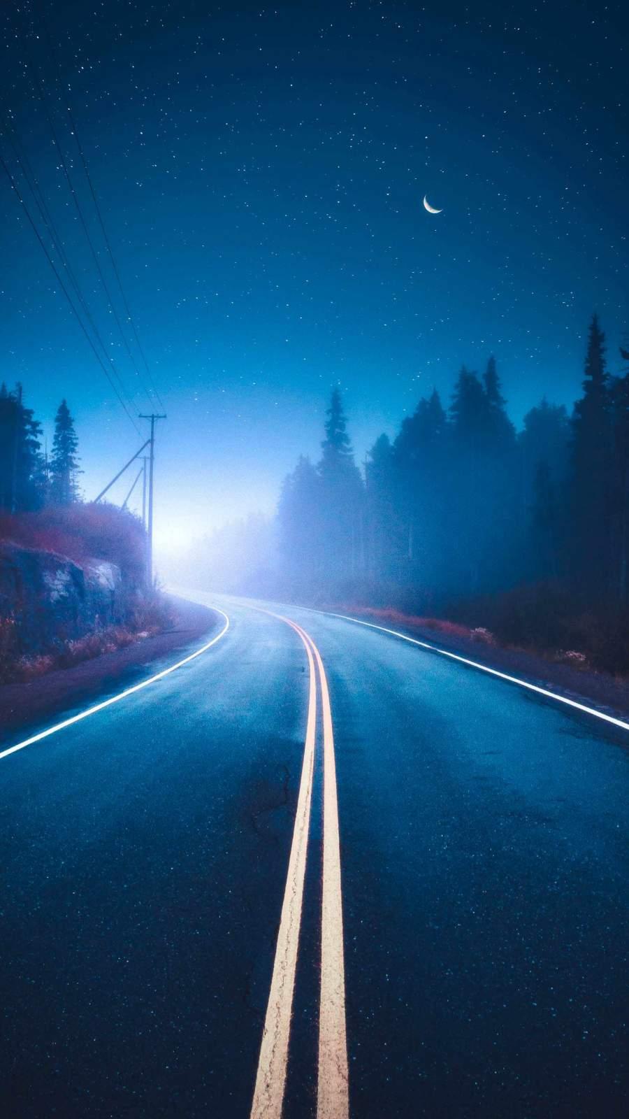 Starry Night Road iPhone Wallpaper