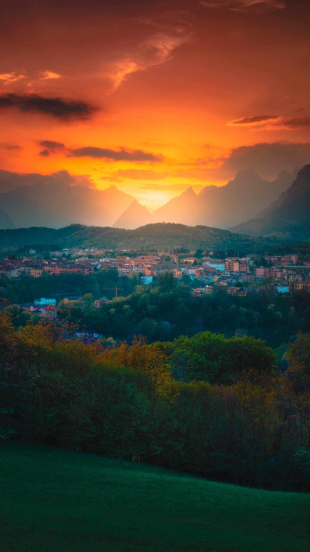 Sunrise Dusk in Dolomites iPhone Wallpaper