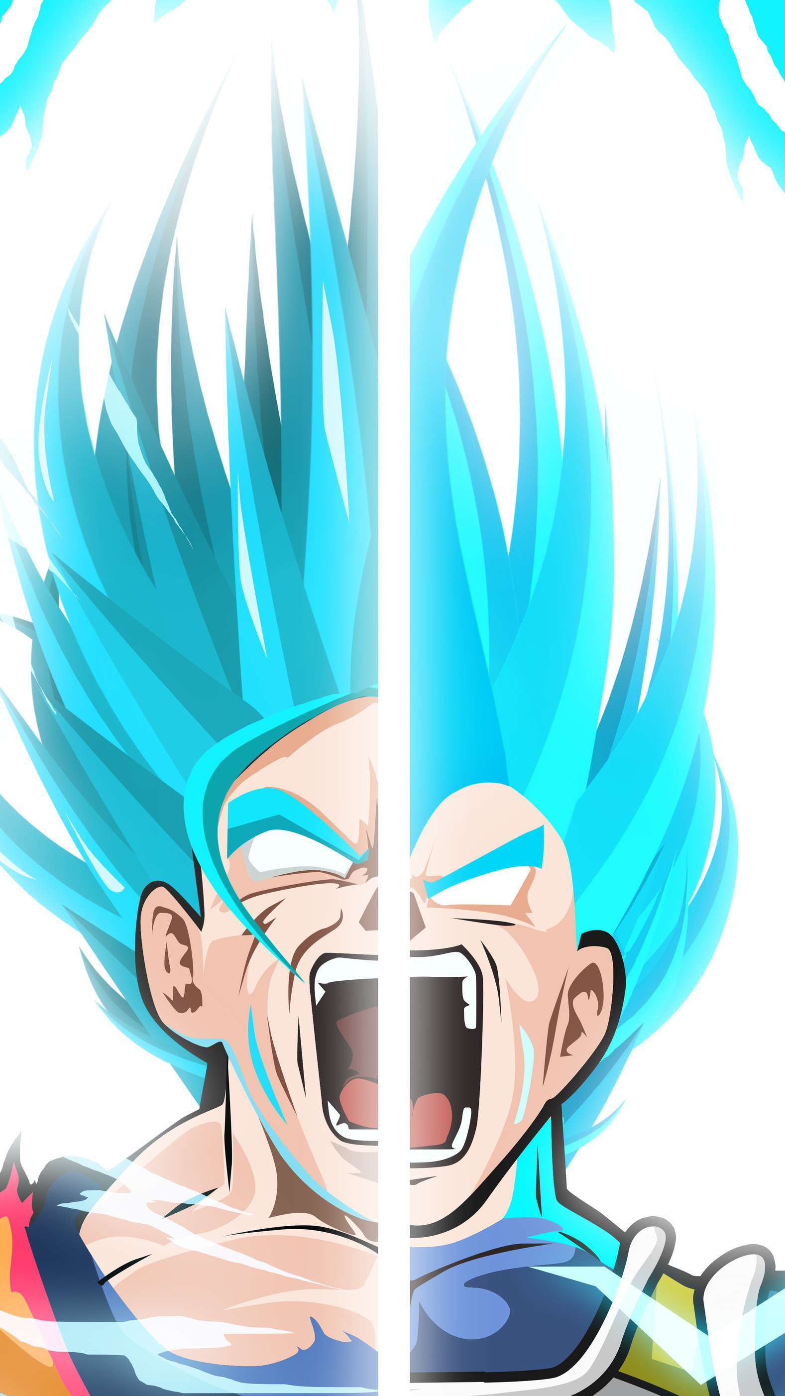 Super Saiyan Goku and Vegeta Blue iPhone Wallpaper