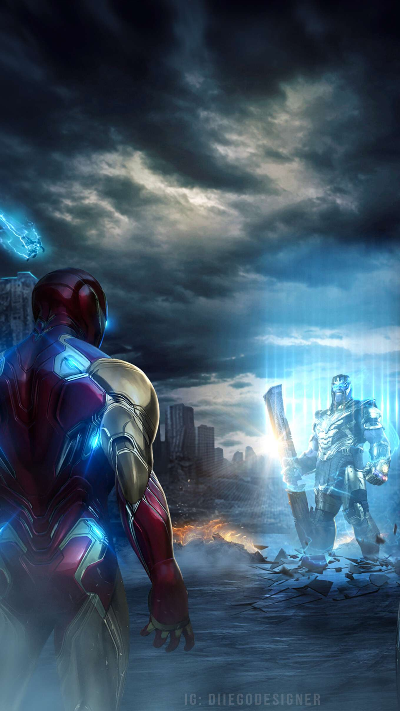 Thanos vs Ironman Endgame iPhone Wallpaper